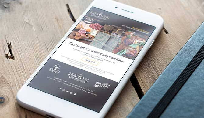 restaurant website on a mobile device